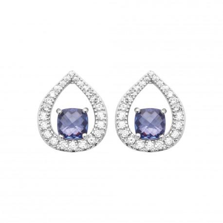 Boucles d'oreilles en argent rhodié gouttes en cristal bleu et zirconium Obrillant-Bijoux