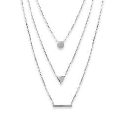 Collier en argent massif 925/000 rhodié trois rangs pastille triangle et rectangle obrillant-bijoux