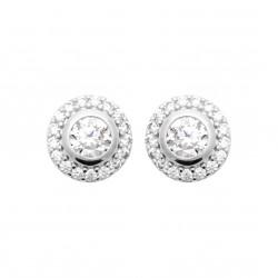 Boucles d'oreilles puces en argent rhodié cercle pierre ronde en zirconium