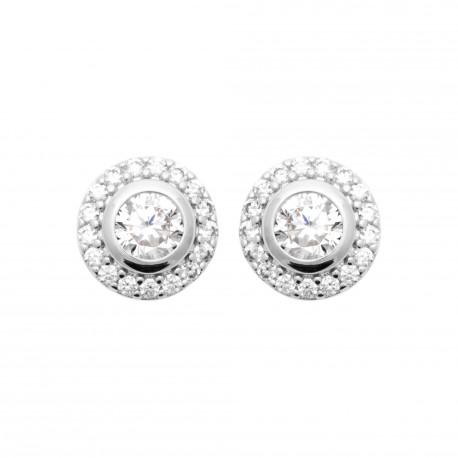 Boucles d'oreilles puces en argent rhodié cercle pavé en zirconium blanc obrillant-bijoux