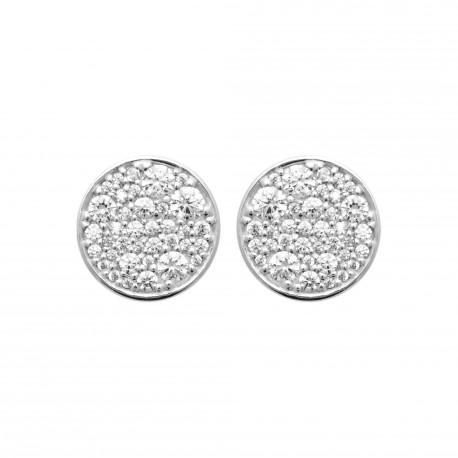 Puces d'oreilles en argent rhodié cercle pavé en zirconium blanc obrillant-bijoux