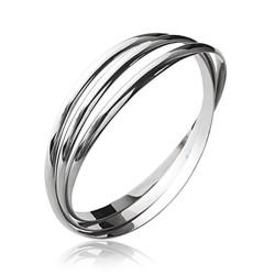 Jonc en argent 925/000 rhodié 3 anneaux entrelacés diamètre 62 mm obrillant-bijoux