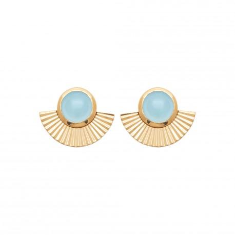 Puces d'oreilles en plaqué or éventail agrémenté d'une agate bleue obrillant-bijoux