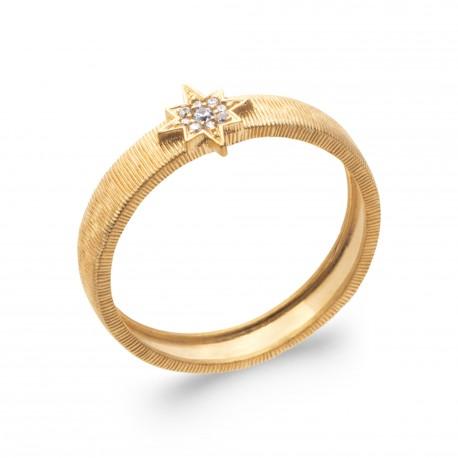 Bague en plaqué or étoile pavé en oxydes de zirconium Obrillant-bijoux
