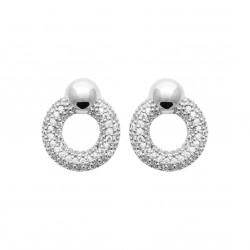 Boucles d'oreilles en argent rhodié anneaux pavé en zirconium Obrillant-Bijoux
