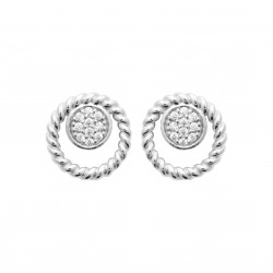 Boucles d'oreilles en argent rhodié anneau torsadé et pavage en zirconium Obrillant-Bijoux