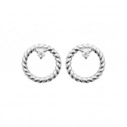 Boucles d'oreilles en argent rhodié anneau torsadé et pierre en zirconium Obrillant-Bijoux
