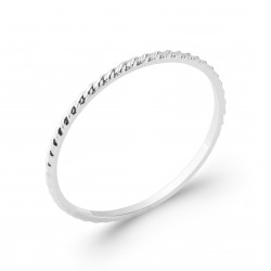 Alliance en argent rhodié anneau fines ciselures mixte Obrillant-bijoux