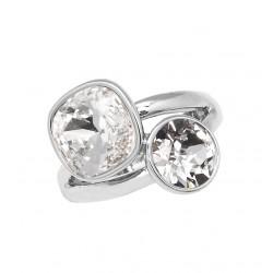 Bague réglable Bohm métal argenté deux pierres en cristal blanc Obrillant-Bijoux