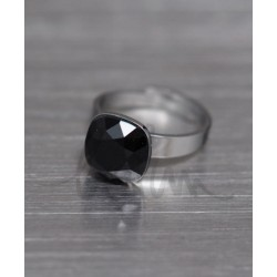 Bague réglable Bohm métal argenté pierre en cristal noir Obrillant-Bijoux