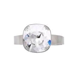 Bague réglable Bohm métal argenté pierre en cristal blanc Obrillant-Bijoux