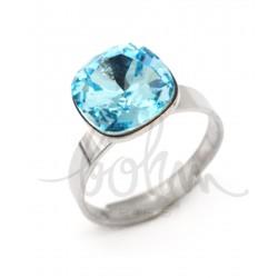 Bague réglable Bohm métal argenté pierre en cristal bleu turquoise Obrillant-Bijoux
