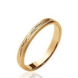 Alliance en plaqué or anneau ciselé 3 mm mixte Obrillant-bijoux