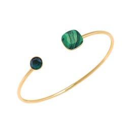 Jonc ouvert Bohm en métal doré pierres en cristal vert de Swarovski et Malachite reconstituée Obrillant-Bijoux