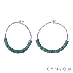 Créoles en argent Canyon avec turquoises de synthèse pas chères obrillant-bijoux