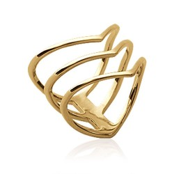 Bague en plaqué or en V 3 rangs Obrillant-bijoux