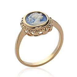 Bague en plaqué or camée bleue pas chère Obrillant-bijoux