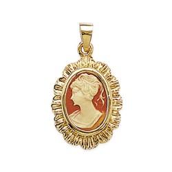 Pendentif en plaqué or camée en résine orangé pas cher obrillant-bijoux