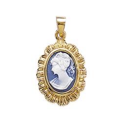 Pendentif en plaqué or camée en résine bleue pas cher obrillant-bijoux