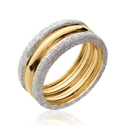 Bague en plaqué or anneaux bicolore deux tons aspect brossés Obrillant-Bijoux