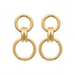 Boucles d'oreilles pendantes plaqué or doubles anneaux liens obrillant-bijoux