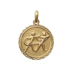 Pendentif plaqué or médaille ciselée gémeaux Obrillant-Bijoux