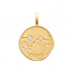 Pendentif en plaqué or médaille signe latin scorpion et zirconium PROMO Obrillant-Bijoux