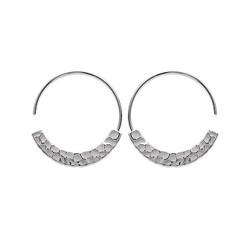 Créoles argent 925/1000 rhodié anneaux aspect martelé ligne Sao Luis obrillant-bijoux