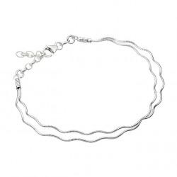 Bracelet en argent maille double fil oméga vague en promotion obrillant-bijoux