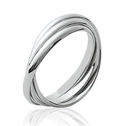 Alliance bague en argent massif 925 rhodié trois anneaux entrelacés style mixte Obrillant-Bijoux