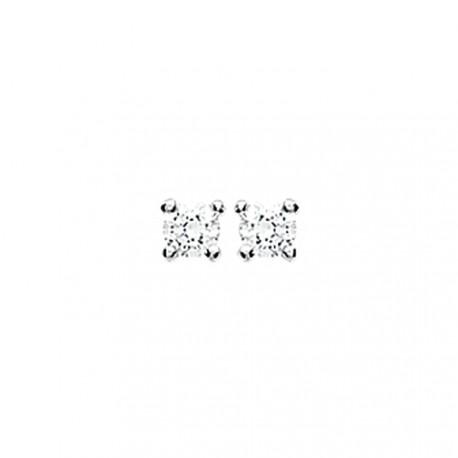 Puces d'oreilles en argent 925/000 rhodié pierre sertie griffes 3 mm en zirconium blanc obrillant-bijoux