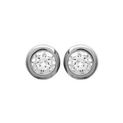 Puces d'oreilles en argent 925/000 rhodié pierre sertie clos 4 mm en zirconium blanc obrillant-bijoux