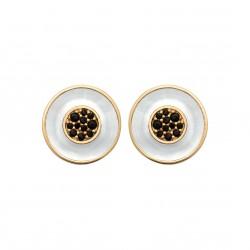 Boucles d'oreille en plaqué or ronde en nacre pavé en zircons noir obrillant-bijoux