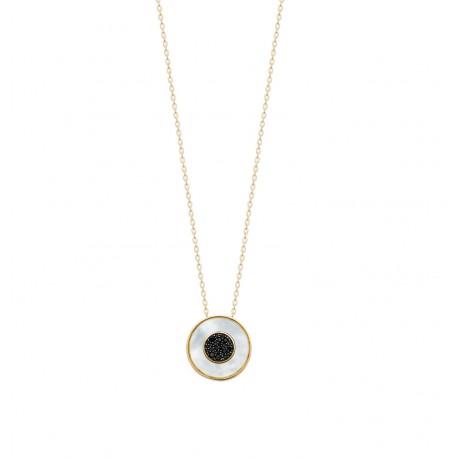 Collier en plaqué or pendentif pierre ronde en nacre et zirconium noir Obrillant-Bijoux