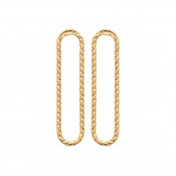 Boucles d'oreilles en plaqué or rectangle aspect torsadé pas chère obrillant-bijoux
