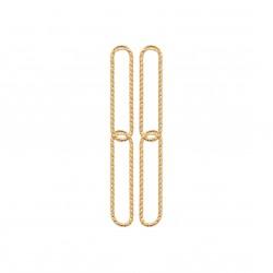 Boucles d'oreilles en plaqué or doubles rectangles aspect torsadé pas chère obrillant-bijoux