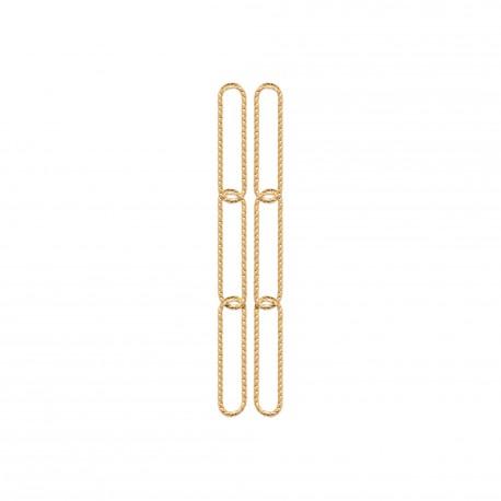 Boucles d'oreilles en plaqué or trois rectangles aspect torsadé pas chère obrillant-bijoux