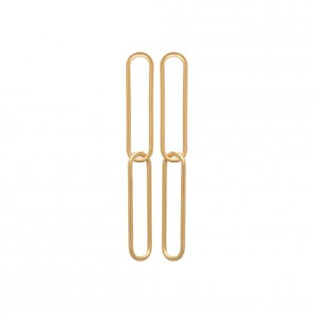 Boucles d'oreilles en plaqué or doubles rectangles pas chère obrillant-bijoux