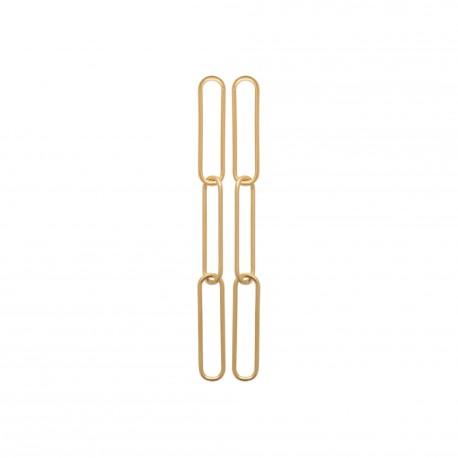 Boucles d'oreilles en plaqué or trois rectangles pas chère obrillant-bijoux