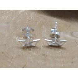 Boucles d'oreilles puces argent 925 rhodié petit bateau PROMO obrillant-bijoux
