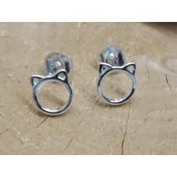 Boucles d'oreilles puces argent 925 rhodié chat PROMO obrillant-bijoux