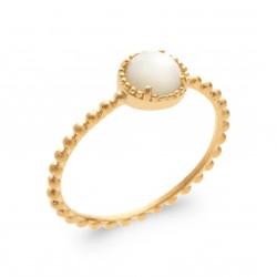 Bague plaqué or monture perlée pierre ronde en nacre Obrillant-bijoux