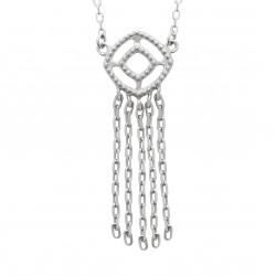 Collier Y en argent 925/000 rhodié avec petites franges pas cher Obrillant-Bijoux