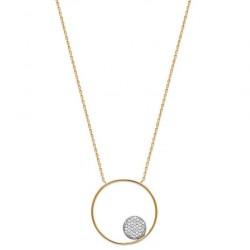 Collier en plaqué or cercle avec pastille pavé en oxydes de zirconium blanc obrillant-bijoux