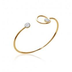 Jonc en plaqué or cercle avec pastille pavé en oxydes de zirconium blanc obrillant-bijoux