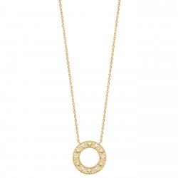 Collier en plaqué or pendentif anneau avec fleurs et zirconium blanc obrillant-bijoux