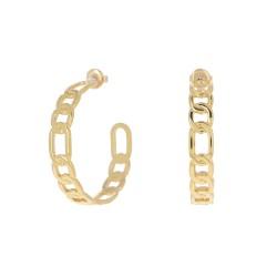 Créoles Bohm en acier doré inoxydable anneaux entrelacés Obrillant-Bijoux