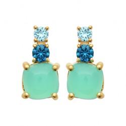 Boucles d'oreilles pendantes en plaqué or avec trois pierres bleues pas chère obrillant-bijoux