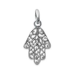 Pendentif argent 925 Main de Fatima dentelle obrillant-bijoux