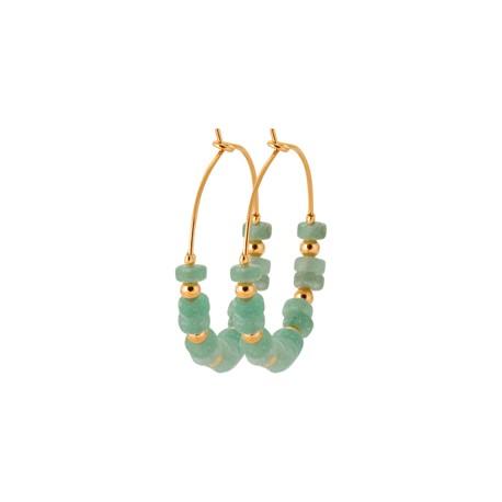 Créoles en plaqué or avec petites pierres en quartzite vert véritable pas chère obrillant-bijoux